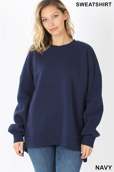 Kendra - Long Sleeve Round Neck Hi Low Sweatshirt