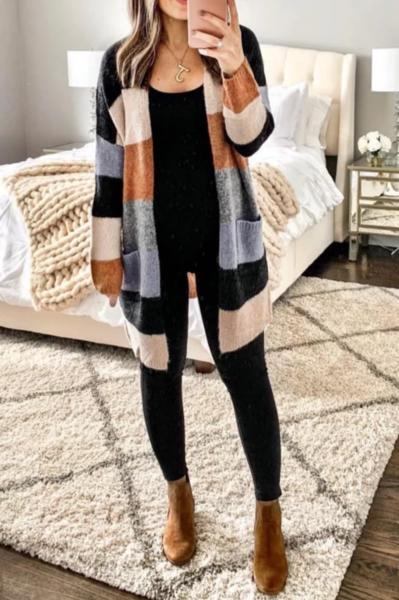 Brooke - Colorblock Stripe Cardigan
