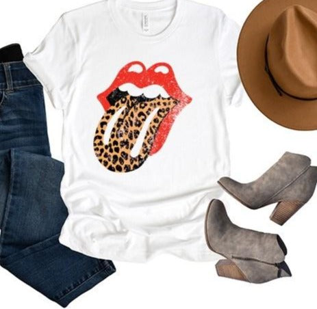 Rolling Stones - Leopard Tongue and Lips Unisex Tee