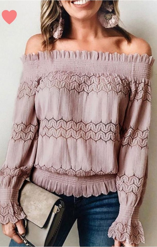 Cosette - Lace Banded Off Shoulder Top