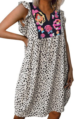 Georgia - Leopard Embroidered Dress