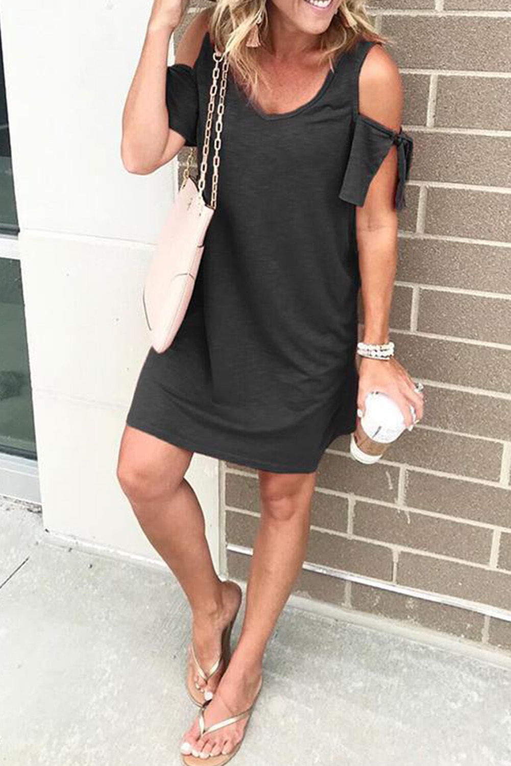 Hannah - Cold Shoulder Shift Dress