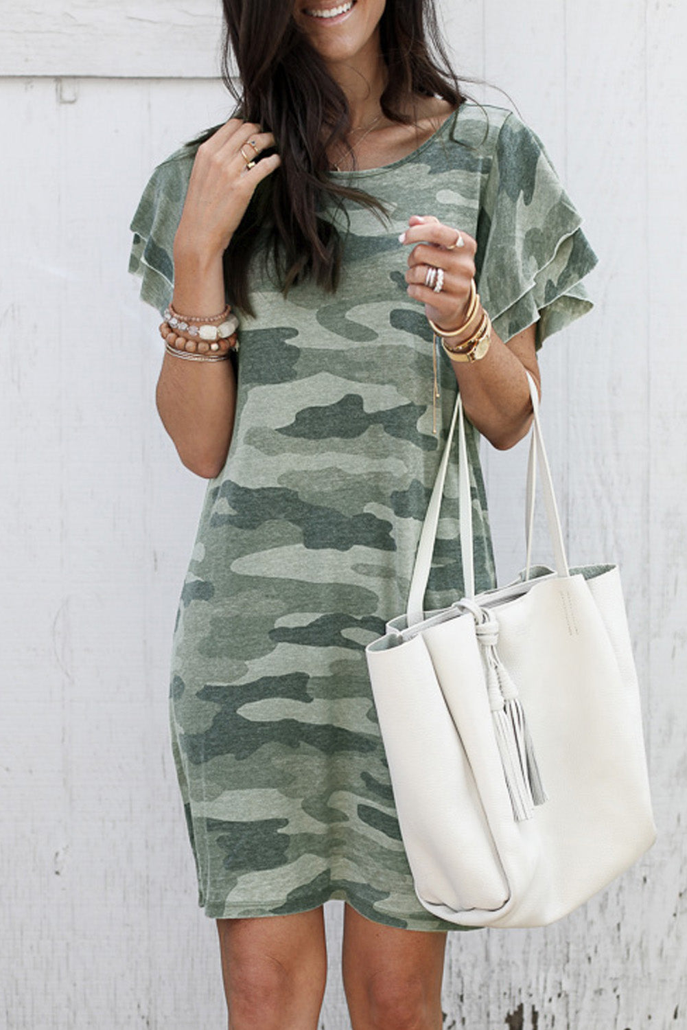 Val - Camo Flutter Sleeve Dress