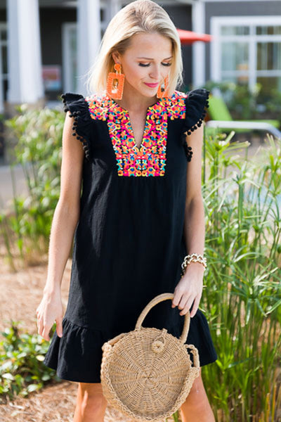 Tory - Embroidered Pom Pom Dress