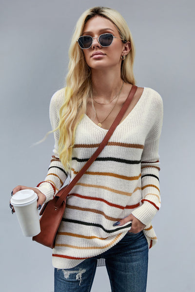 Jani - Multi Color Striped Knit Sweater