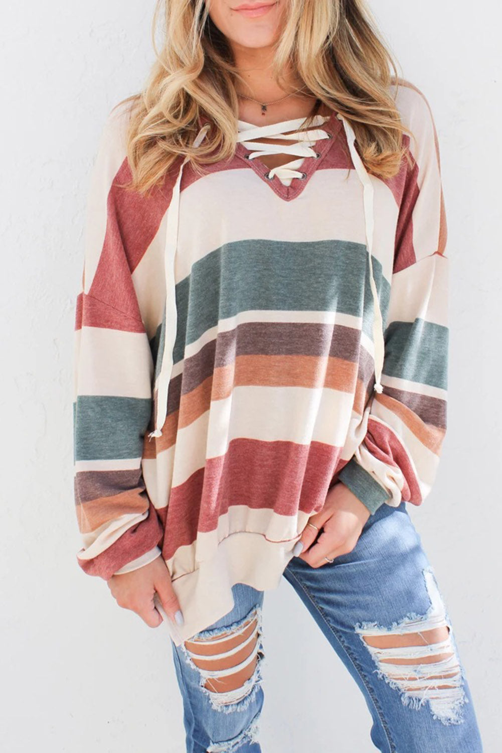 Fallon - Multi Colorblock Lace Up Sweatshirt