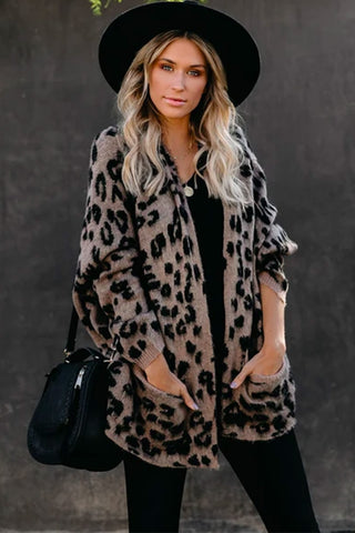 Busy - Oversize Leopard Print Sweater Cardigan
