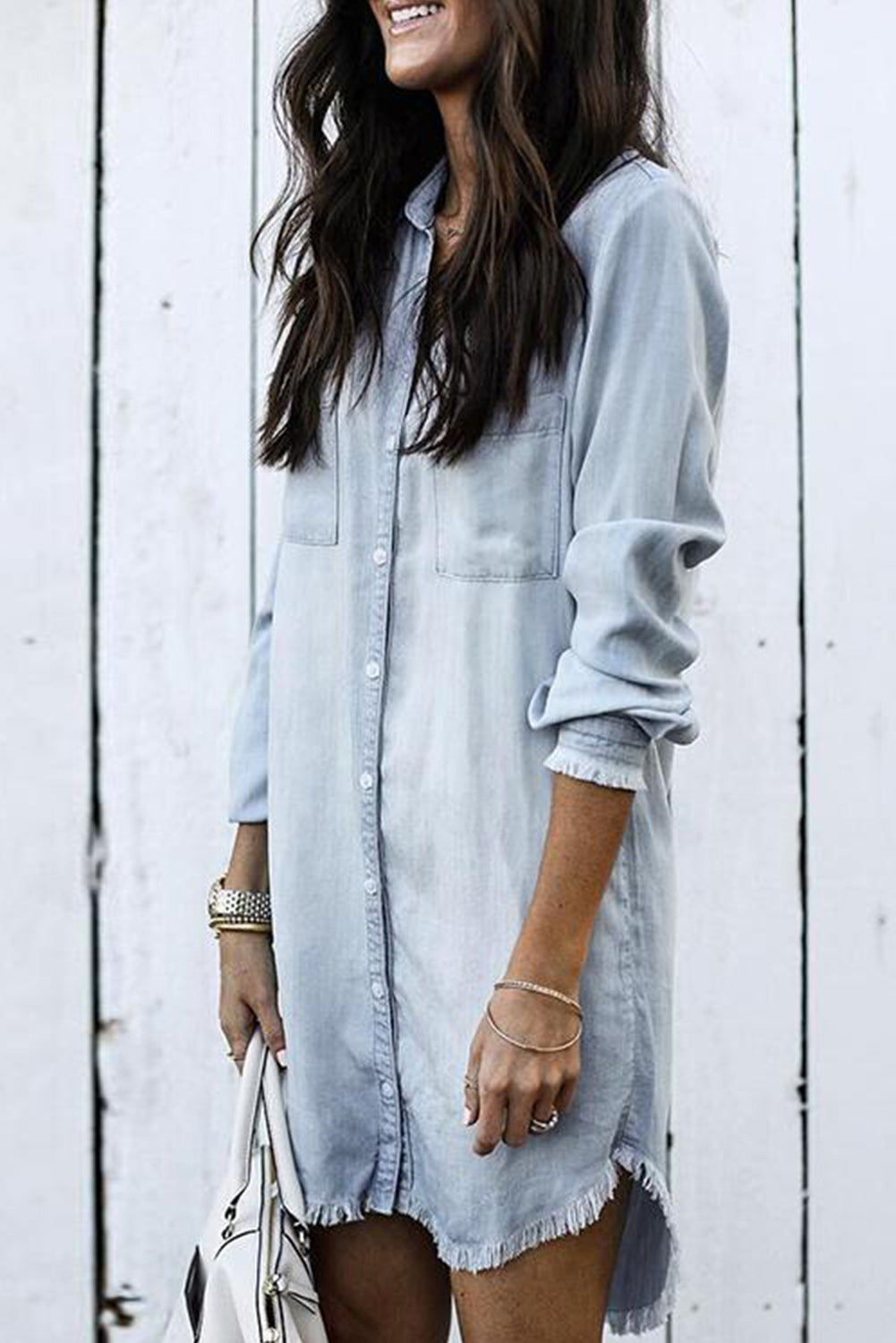 Gemma - Chambray Fringe Dress / October Arrival