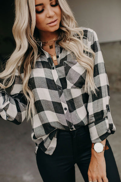 Jackie - Buffalo Plaid Button Down Top