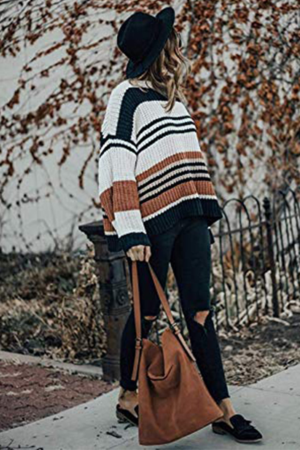 Laurel - Striped Pattern Knit Sweater / SEPTEMBER ARRIVAL