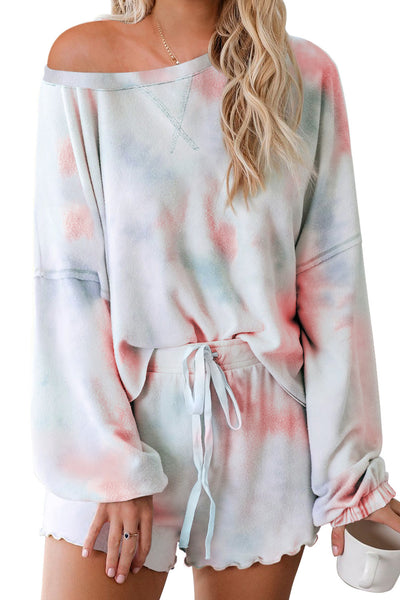 Harlynn - Long Sleeve + Shorts Watercolor Tie Dye Set