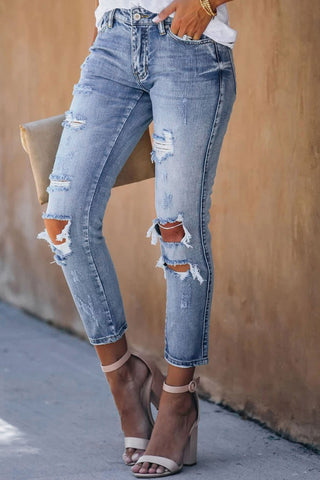 Bonnie - Blue Fading Distressed Hole Ankle Jeans