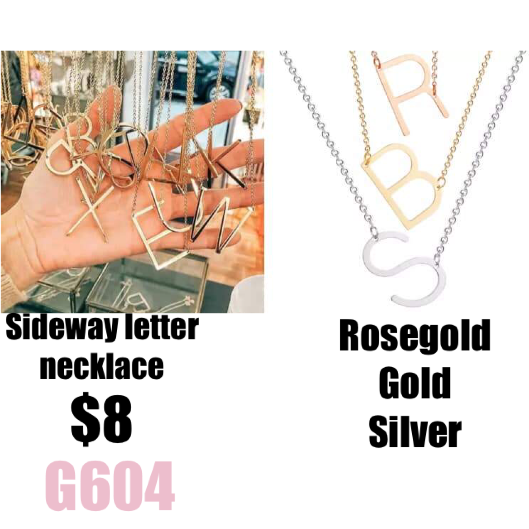 Side Way Letter Necklace (G604)