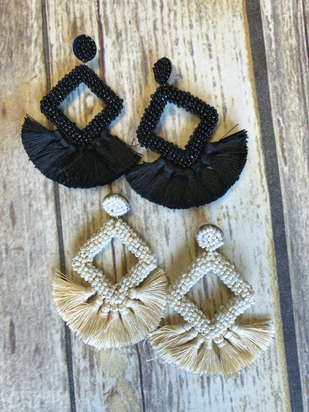 3068 - Diamond Beaded Tassel Earrings