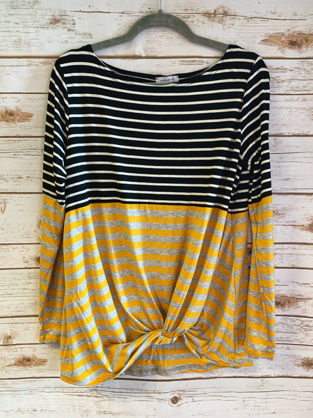 Tori - Twist Front Stripe Top