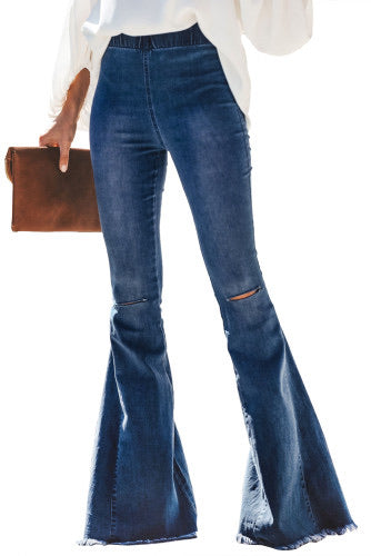 Hillary - Flare Distressed Denim