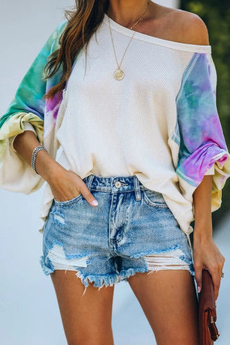 Stella - Contrast Thermal Knit Tie Dye Top