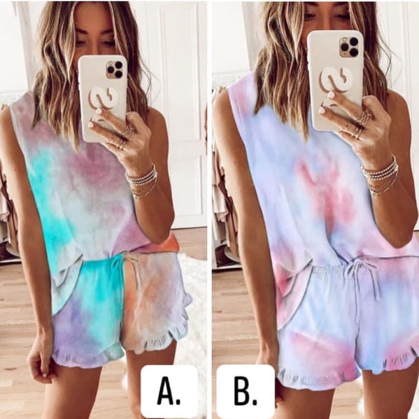Heather- Tie Dye Tank Ruffle Set