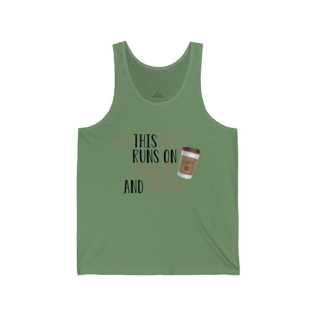 Tank Top This PTA Runs on Coffee and Squats Men's Tank - Physio Memes