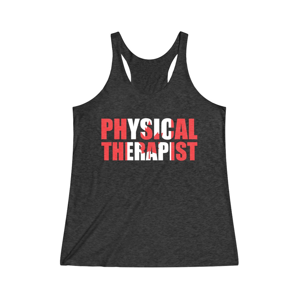 Tank Top Physical Therapist (Canadian Flag) Women's Racerback Tank - Physio Memes