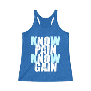Know Pain Know Gain (blue) Racerback Tank
