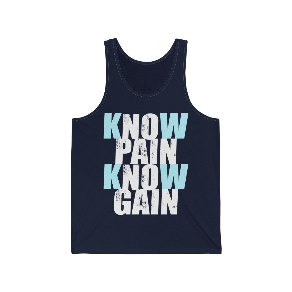 Tank Top Know Pain Know Gain (blue) Men's Tank - Physio Memes