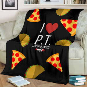 I Love Pizza And Tacos Fleece Blanket