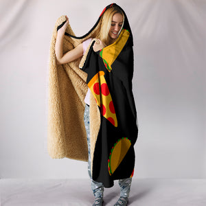 I Love Pizza and Tacos Hooded Blanket