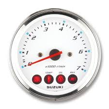 "Suzuki 4"" White Face Tachometer with monitor functions; 34200-93J14"