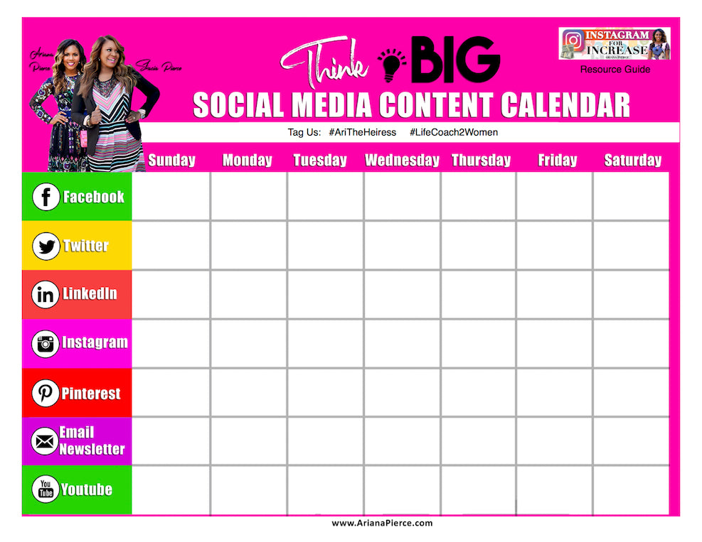 the social media content calendar download ariana s style shoppe