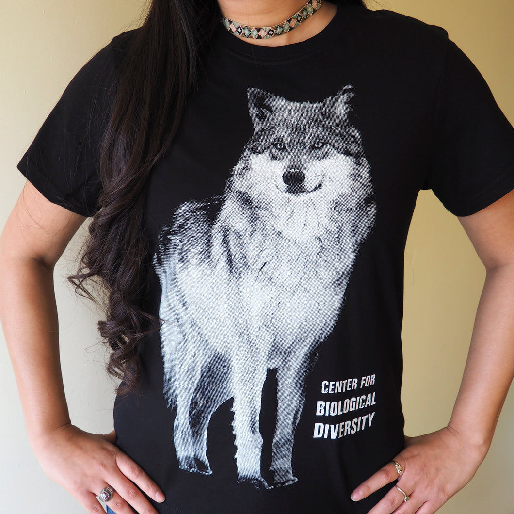 Short sleeved women's t-shirt – 'Call of the Wild' black