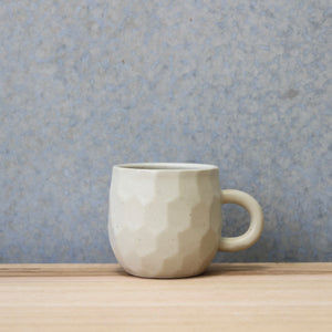 Faceted Handled Cup White