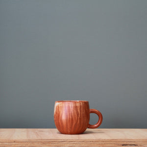 Fire on Clay Rounded Handled Cup- Lines