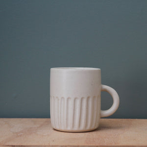 Handled Cup- Fluted- Sage/Wheat/White