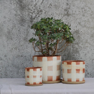 Fire on Clay Planter- Gingham