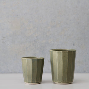 Faceted Beaker- Sage/Wheat/White
