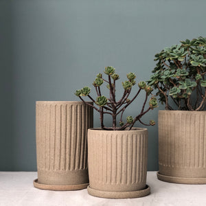 Raw Earth Fluted Planter- speckled sand