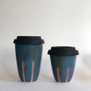Travel Cup- Stripes Blue- Regular/Large