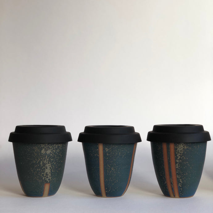 Travel Cup- Stripes Textural Grey- Small/Regular