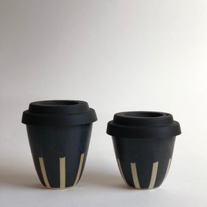 Travel Cup- Stripes Charcoal- Small/Regular/Large