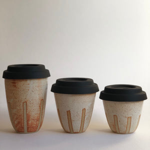 Travel Cup- Stripes Natural- Small/Regular/Large