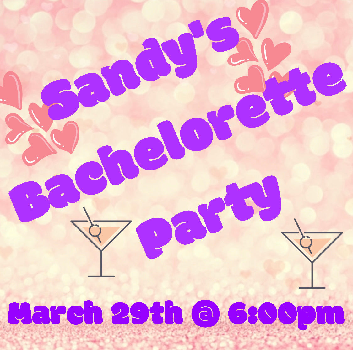 03/29/2020 @ (6:00pm) Sandy's Bachelorette Party! $25 Squares Pick Your Design Squares (Locust Grove)