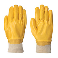 PVC Gloves with Knit Wrists, Yellow