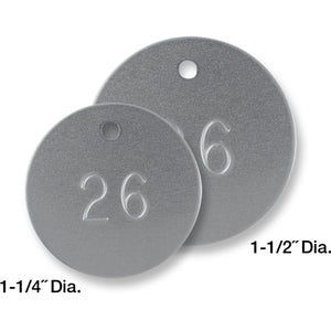 Aluminum Tags, Round, Numbered