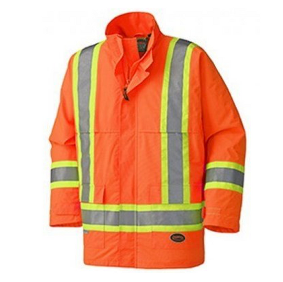 Pioneer Nylon Safety Rain Jacket, Orange
