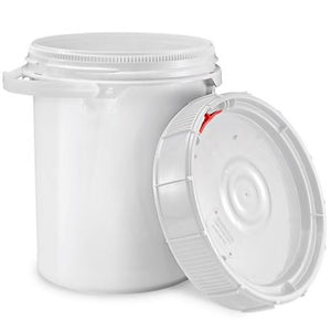 5 Gallon pail with Screw-On Lid, White, HDPE