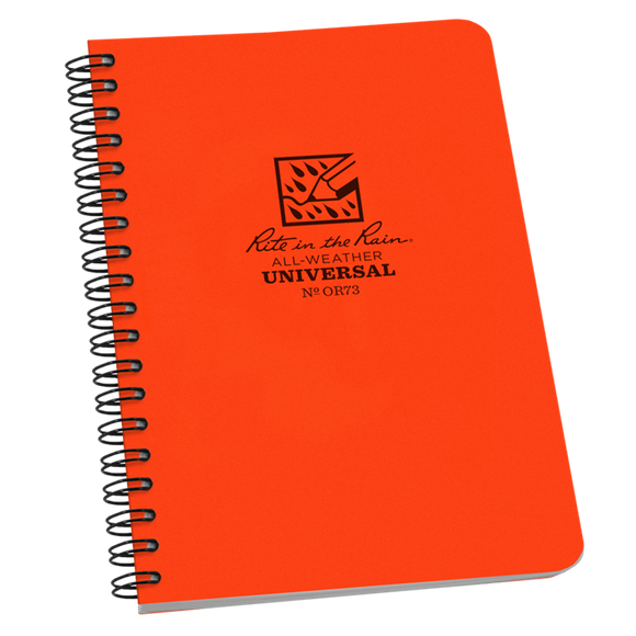 Rite-in-the-Rain - #OR73 Spiral Notebook, Universal Pattern, Orange