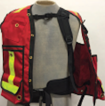 Cruiser Vest with Internal Harness, Red, Cordura, w/ Striping