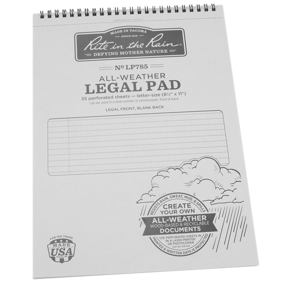 Rite-in-the-Rain - #LP785, Top Spiral Legal Pad, 8.5