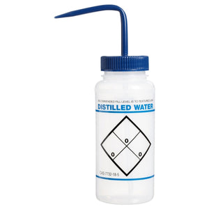 "Wash Bottle, Safety Labeled, ""Distilled Water"", 500 ml"